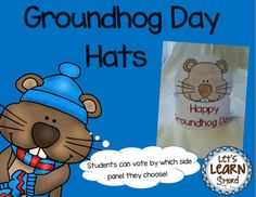Groundhog Day:  Hats, February, WinterVote for Spring or Winter by which band you choose!*Check out these groundhog themed product!*Groundhog, Learning Cube, Roll, Graph and CountGroundhog Day Cut and Paste Poetry Reader#Or in a Bundle#Groundhog Day BundleThese hats come in two different versions.In the color version, students just cut out the hat and bands, (choosing the spring or winter ground hog,) then glue together.In the black and white version, students cut out the hat and bands they…