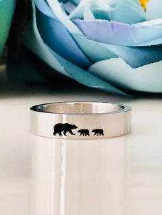Stainless Steel Mama Bear engraving ring 5mm Band Ring  Custom Personalized  Engraved ring engraving inside sold separately 0ceefc81777