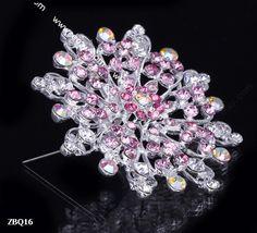 6.5x6.5cm Pink Shining Fancy Flower Jewelry Beauty Crystal Rhinestone Pin Brooch