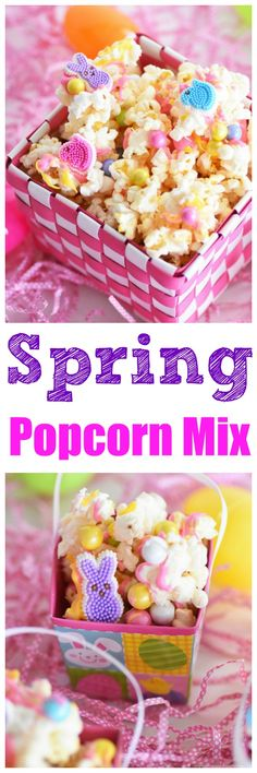Candy Drizzled Easter Popcorn is a fun and easy spring or Easter snack to make. Serve it at your next Easter themed party or birthday celebration.