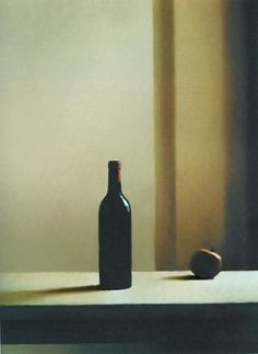 "artchiculture: ""Gerhard Richter, Flasche mit Äpfeln [Bottle with Apple] 1988 "" Le goût de la peinture : bouteille avec pomme, Gerhard Gerhard Richter, Robert Motherwell, Cy Twombly, Richard Diebenkorn, New European Painting, Art Et Illustration, Illustrations, Bottle Painting, Bottle Art"