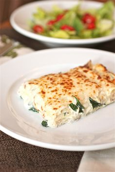 Spinach Lasagna - Yum!  note:  I like to use Ricotta cheese in place of the cottage cheese