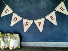 COFFEE Burlap Banner Triangle Pennant Flag Bunting Shop Sign Rustic Country Wedding on Etsy, $28.00