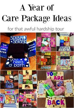 A Year Of Care Package Ideas For That Awful Hardship Tour Finding Mandee Here Is A List Of 12 Care Package Ideas To Get You Through Deployment. Soldier Care Packages, Camp Care Packages, Birthday Care Packages, Deployment Care Packages, Missionary Packages, College Care Packages, Care Package College, Soldier Care Package Ideas, Homeless Care Package