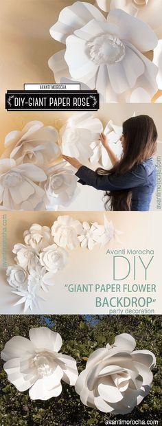 DIY Giant Paper Flower Backdrop / Weddings / Bodas / Mural de Flores Gigantes. https://www.etsy.com/your/shops/AvantiMorochaDIYs