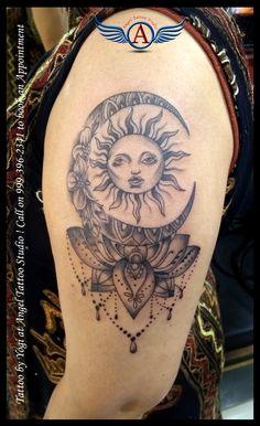 Sun,Moon,Flower,Lotus with Jewelry tattoo Design  #suntattoo #moontattoo #lotustattoo #Flowertattoo #Lotustattoo # Jewelrytattoo