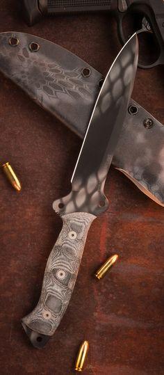 Dawson Knives Diamondback 7 Tactical Fixed Blade Knife Black Adder Cerakote