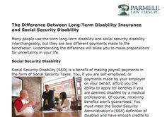 http://parmelelawfirm.com/difference-long-term-disability-insurance-social-security-disability - Parmele Law Firm identifies the difference between Long-Term Disability Insurance and Social Security Disability. Read the full article at: http://parmelelawfirm.com/difference-long-term-disability-insurance-social-security-disability/