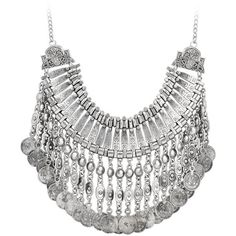 Silver Coin Chunky Necklace ($53) ❤ liked on Polyvore featuring jewelry, necklaces, silver bib necklace, antique silver jewelry, antique jewelry, bib necklace and silver cross necklace