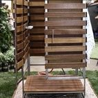 I love this outdoor shower by Oborain, built of stainless steel, Brazilian teak, and dark red Meranti panels, with a luxe Hansgrohe Axor ...