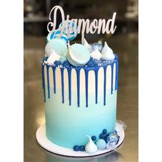 Chocolate Drip Cake, Blue Drip Cake, Baby Boy Birthday Cake, Dad Cake, Baby Shower Cakes For Boys, Ombre Cake, Blue Cakes, Buttercream Cake, Deserts