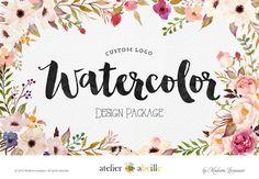 custom logo design WATERCOLOR logo floral logo by atelierabeille