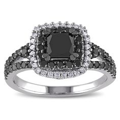 Miadora Sterling Silver 1 1/2ct TDW Princess and Round-cut Black and Diamond Halo Split Shank Engagement Ring