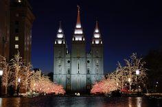 Anchorage, Alaska LDS Temple Artwork and Salt Lake temple lights    #LDSartwork #DailyLDS