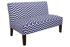 Izzy Armless Love Seat, Navy/White on OneKingsLane.com
