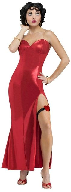 Our Glamorous Betty Boop Costume sure makes a gal's gams standout! Betty Boop Costume for women features a long red dress with a heart-adorned garter, wig, earrings and bracelets. 1940s Costume, Costume Wigs, Costume Dress, Costume Shop, Vintage Costumes, Adult Costumes, Costumes For Women, Holiday Costumes, Betty Boop Costume