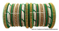 Yaalz Simple Bangle set With Antique Tone In Green & Gold Colors Silk Thread Bangles Design, Silk Bangles, Thread Jewellery, Bangles Making, Bangle Set, Green And Gold, Jewelry Design, Antiques, Bracelets
