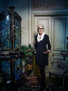 Legendary tastemaker, fashion and style icon Iris Barrel Apfel at her Manhattan, NYC apartment.