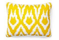 Ikat Pillow, Yellow/White on OneKingsLane.com