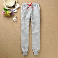 New women's fashion thickening cotton loose casual fleece sports trousers Women Harem Pants $13.50
