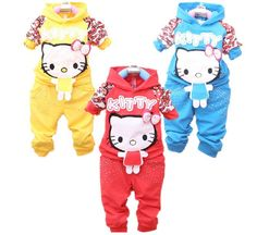 Free ship Baby Girls hello kitty kitti cartoon sport suit long sleeve Kid clothing set toddler twinset tracksuit outfit autumn  $51.16 Hello Kitty Clothes, Hello Kitty Baby, Kids Girls, Baby Girls, Toddler Outfits, Kids Outfits, Disney With A Toddler, Kid Clothing, Cute Toddlers