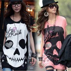 New Women's Fashion Cute Japanese Punk Skull Sexy Fun Top Shirt 3 Colors@#LO@#CA