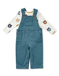 2 Piece Pure Cotton Dungaree & Bodysuit Outfit   M&S