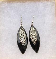 GRAY ROSES statement earings long dangling earings rustic retro earings with mysterious glass old silver earings grey dangle earings