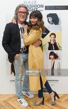 Stylist Alberto Cerdan and actres Sara Salamo attend the 'Hari Fashion Night' photocall at Rizo's store on May 12, 2016 in Madrid, Spain.