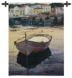 Contraluza Barca Tapestry. Woven Fabrics Create Beautiful Coastal Tapestries. The Contraluza Barca Tapestry is Gorgeous. As the name implies, a contraluz is a place or area where light plays a key role in setting the atmosphere or mood. The boat in the calm waters suggests as much to us in this beautiful scene.