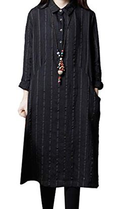 19d294ac1f1 P Ammy Fashion Women s Oversized Striped Bars Long Blouse Dress Black Size  ...