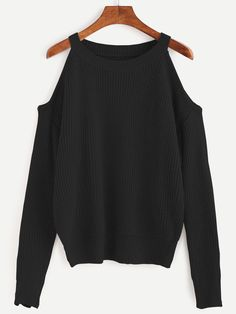 Shop Black Open Shoulder Knit Sweater online. SheIn offers Black Open Shoulder Knit Sweater & more to fit your fashionable needs.