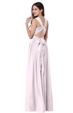 Blush Simple Halter Criss-cross Straps Chiffon Floor Length Plus Size Bridesmaid Dresses
