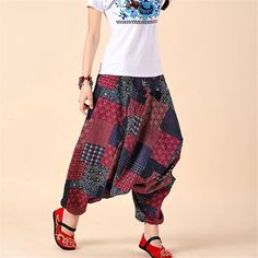 Women Big Crotch Cotton Yoga Harem Pants / Bohemian Pants / Bloomers - https://www.vendoyoga.com/yoga-pants-leggings/ #harempants #bohemianpants #bloomers