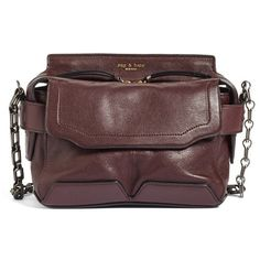 Women's Rag & Bone Micro Pilot Leather Satchel (3.485 DKK) ❤ liked on Polyvore featuring bags, handbags, bordeaux, red leather handbags, genuine leather purse, satchel handbags, real leather purses and red satchel handbag
