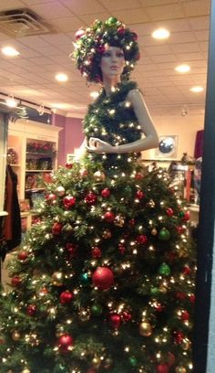 Marguerite, our mannequin Christmas tree. So great for store fronts. Manaquin Christmas Tree, Dress Form Christmas Tree, Christmas Window Display, Unique Christmas Trees, Handmade Christmas Tree, Holiday Tree, Christmas Holidays, Christmas Crafts, Xmas Trees