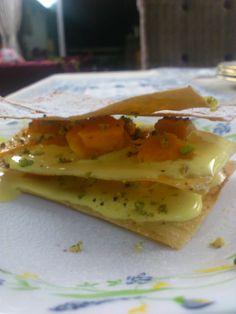 Super easy mango and pistachio napoleon
