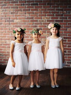 Adorable spring flower girls: http://www.stylemepretty.com/2016/03/29/an-industrial-woodland-inspired-spring-wedding-at-sodo-park-seattle/ | Photography: Ryan Flynn Photography - http://ryanflynnphotography.net/