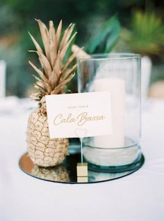 Gold pineapple centerpiece   Ana Lui Photography                                                                                                                                                     More