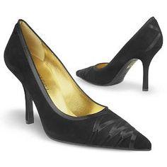 #Forzieri, Satin Lacing Black Suede Italian Pump Shoes