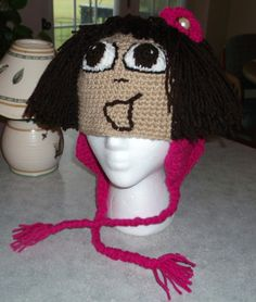 Crochet girls hat inspired by Dora