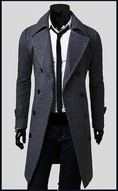 SWM Men's Stylish Trench Winter Coat Long Jacket Double Breasted Overcoat | eBay ($31.99)