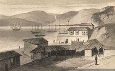 Grabado.    Bahía de Valparaíso, año 1820       Fuente: Memoria Chilena