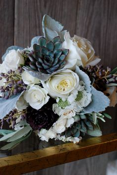 succulent and peony