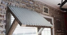 corrugated metal awning diy 10 Even though old inside idea, the actual pergola may be Primitive Homes, Diy Awning, Corrugated Tin, Faux Brick Walls, Brick Fireplace, Window Awnings, Metal Awnings For Windows, Front Windows, Rustic Farmhouse