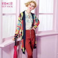 ELF SACK fashion brand new arrival 2015 women spring geometric patterns color block jacquard cardigan sweater free shipping