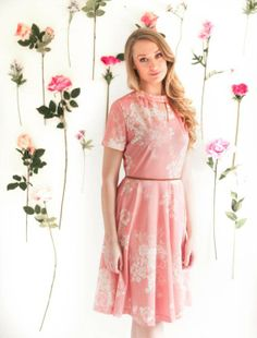 French Vintage 70's Peach Floral Dress by Namanama #roze