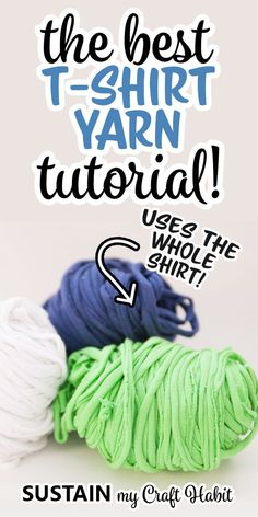 Repurposing old t-shirts for craft projects is a great way to keep them out of the landfill. There are so many possible uses for t-shirt yarn and in this post we show you how you can make your own yarn, using the entire shirt. Tee Shirt Crafts, T Shirt Yarn, T Shirt Diy, Make Your Own Tshirt, How To Make Tshirts, Sewing Hacks, Sewing Tutorials, Sewing Crafts, Crochet T Shirts