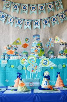 Crissy's Crafts M's Birthday / - Rainbow Fish Party at Catch My Party Birthday Fun, First Birthday Parties, First Birthdays, Birthday Ideas, Sunshine Birthday, Birthday Banners, Birthday Decorations, Rainbow Fish, Under The Sea Party