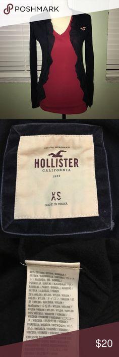 Hollister navy blue cardigan sweater Hollister navy blue cardigan sweater with ruffles. Lightweight and in excellent condition Hollister Sweaters Cardigans